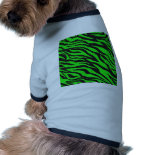 Cool Trendy Neon Lime Green Zebra Stripes Pattern Doggie Tee Shirt