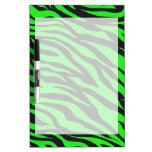 Cool Trendy Neon Lime Green Zebra Stripes Pattern Dry-Erase Boards