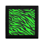 Cool Trendy Neon Lime Green Zebra Stripes Pattern Keepsake Box