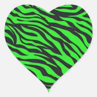 Cool Trendy Neon Lime Green Zebra Stripes Pattern Heart Sticker