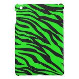 Cool Trendy Neon Lime Green Zebra Stripes Pattern iPad Mini Case