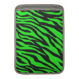 Cool Trendy Neon Lime Green Zebra Stripes Pattern MacBook Air Sleeve