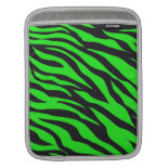 Cool Trendy Neon Lime Green Zebra Stripes Pattern Sleeves For iPads