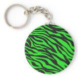 Cool Trendy Neon Lime Green Zebra Stripes Pattern Key Chain