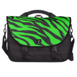 Cool Trendy Neon Lime Green Zebra Stripes Pattern Bag For Laptop
