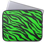 Cool Trendy Neon Lime Green Zebra Stripes Pattern Laptop Sleeve