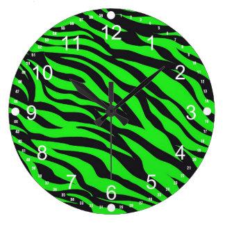 Cool Trendy Neon Lime Green Zebra Stripes Pattern Large Clock
