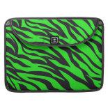Cool Trendy Neon Lime Green Zebra Stripes Pattern Sleeve For MacBook Pro