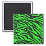 Cool Trendy Neon Lime Green Zebra Stripes Pattern Fridge Magnets