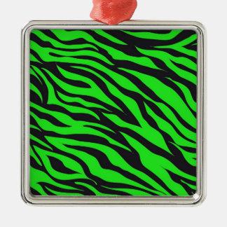 Cool Trendy Neon Lime Green Zebra Stripes Pattern Metal Ornament