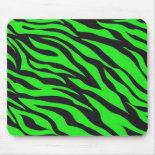 Cool Trendy Neon Lime Green Zebra Stripes Pattern Mouse Pad