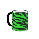 Cool Trendy Neon Lime Green Zebra Stripes Pattern Coffee Mugs