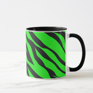 Cool Trendy Neon Lime Green Zebra Stripes Pattern Mug