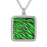 Cool Trendy Neon Lime Green Zebra Stripes Pattern Personalized Necklace