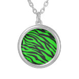 Cool Trendy Neon Lime Green Zebra Stripes Pattern Custom Jewelry