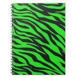 Cool Trendy Neon Lime Green Zebra Stripes Pattern Spiral Notebooks