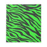 Cool Trendy Neon Lime Green Zebra Stripes Pattern Memo Notepads