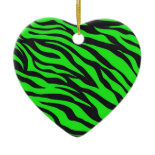 Cool Trendy Neon Lime Green Zebra Stripes Pattern Christmas Tree Ornament