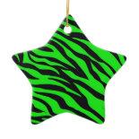 Cool Trendy Neon Lime Green Zebra Stripes Pattern Christmas Ornament