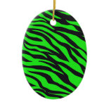 Cool Trendy Neon Lime Green Zebra Stripes Pattern Ornament