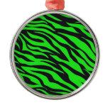 Cool Trendy Neon Lime Green Zebra Stripes Pattern Christmas Ornaments
