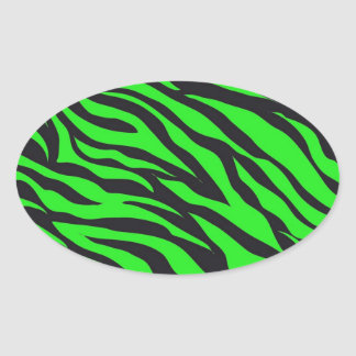 Cool Trendy Neon Lime Green Zebra Stripes Pattern Oval Sticker