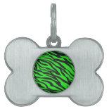 Cool Trendy Neon Lime Green Zebra Stripes Pattern Pet Tags