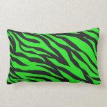 Cool Trendy Neon Lime Green Zebra Stripes Pattern Pillow