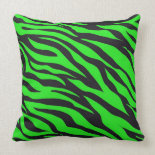 Cool Trendy Neon Lime Green Zebra Stripes Pattern Throw Pillow