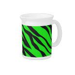 Cool Trendy Neon Lime Green Zebra Stripes Pattern Drink Pitcher