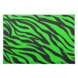 Cool Trendy Neon Lime Green Zebra Stripes Pattern Place Mats