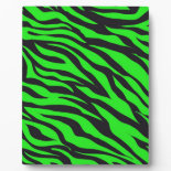 Cool Trendy Neon Lime Green Zebra Stripes Pattern Display Plaques