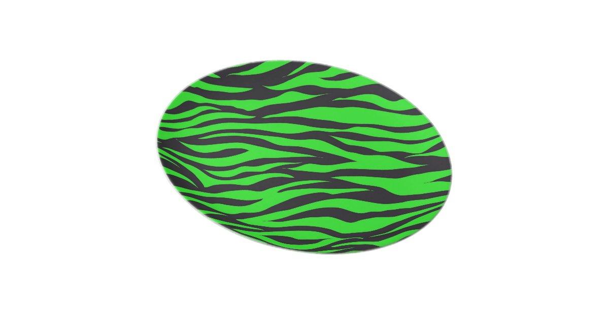 Cool Trendy Neon Lime Green Zebra Stripes Pattern Plate ...