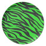 Cool Trendy Neon Lime Green Zebra Stripes Pattern Dinner Plates