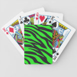 Cool Trendy Neon Lime Green Zebra Stripes Pattern Bicycle Playing Cards