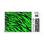 Cool Trendy Neon Lime Green Zebra Stripes Pattern Postage