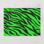 Cool Trendy Neon Lime Green Zebra Stripes Pattern Post Card