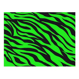 Cool Trendy Neon Lime Green Zebra Stripes Pattern Postcard