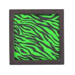 Cool Trendy Neon Lime Green Zebra Stripes Pattern Premium Jewelry Box
