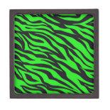 Cool Trendy Neon Lime Green Zebra Stripes Pattern Premium Keepsake Box