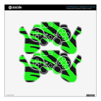 Cool Trendy Neon Lime Green Zebra Stripes Pattern PS3 Controller Decal