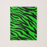 Cool Trendy Neon Lime Green Zebra Stripes Pattern Puzzle