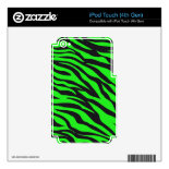 Cool Trendy Neon Lime Green Zebra Stripes Pattern iPod Touch 4G Decal