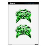 Cool Trendy Neon Lime Green Zebra Stripes Pattern Xbox 360 Controller Decal