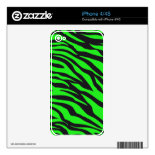 Cool Trendy Neon Lime Green Zebra Stripes Pattern Skin For iPhone 4S