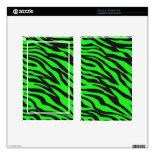 Cool Trendy Neon Lime Green Zebra Stripes Pattern Kindle Fire Skin