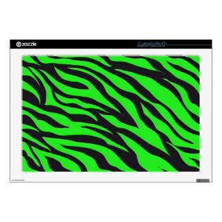 "Cool Trendy Neon Lime Green Zebra Stripes Pattern Skin For 17"" Laptop"