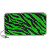 Cool Trendy Neon Lime Green Zebra Stripes Pattern iPod Speaker
