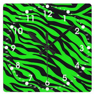 Cool Trendy Neon Lime Green Zebra Stripes Pattern Square Wall Clock