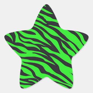Cool Trendy Neon Lime Green Zebra Stripes Pattern Star Sticker